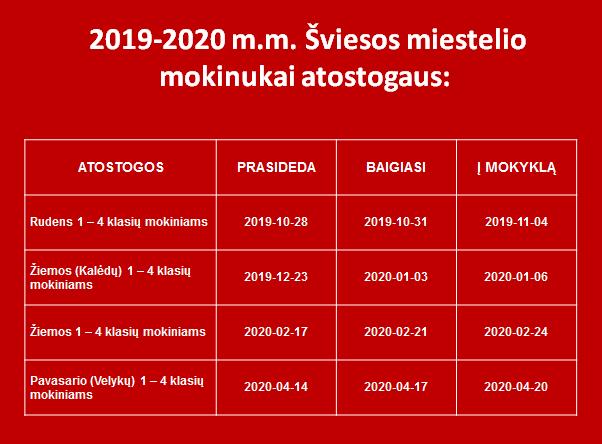 2019 2020 atostogos